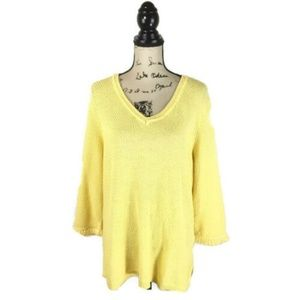 Talbots Size XL Sweater Yellow Cotton Knit V-Neck